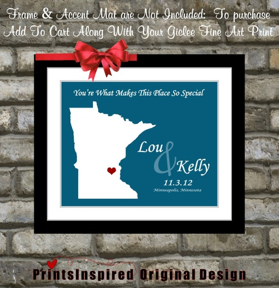 Minnesota Wedding Ceremony Locations: Wedding Personalized Map Gift Choose ANY By Printsinspired