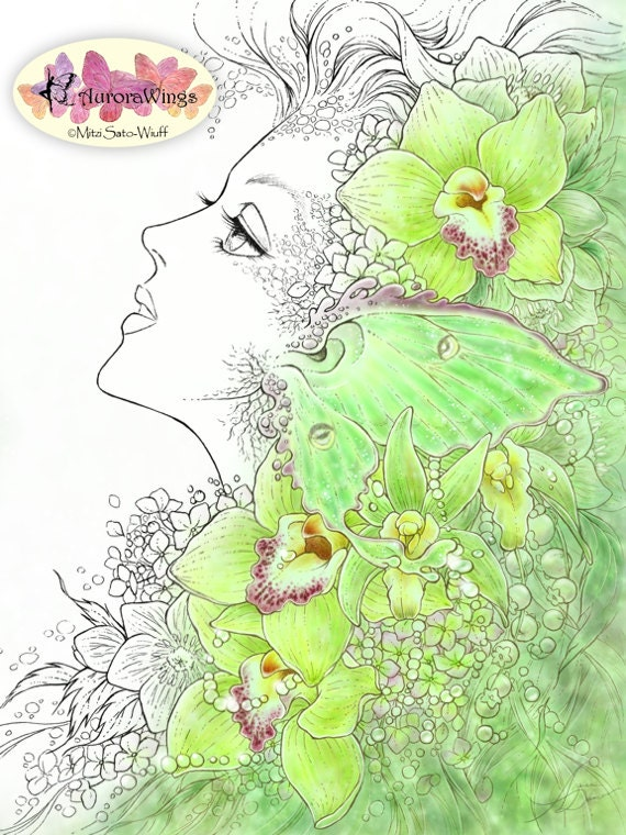 Digital Stamp - The Green Fairy - Fae with Orchids and Luna Moth - digistamp - Fantasy Line Art for Cards & Crafts by Mitzi Sato-Wiuff