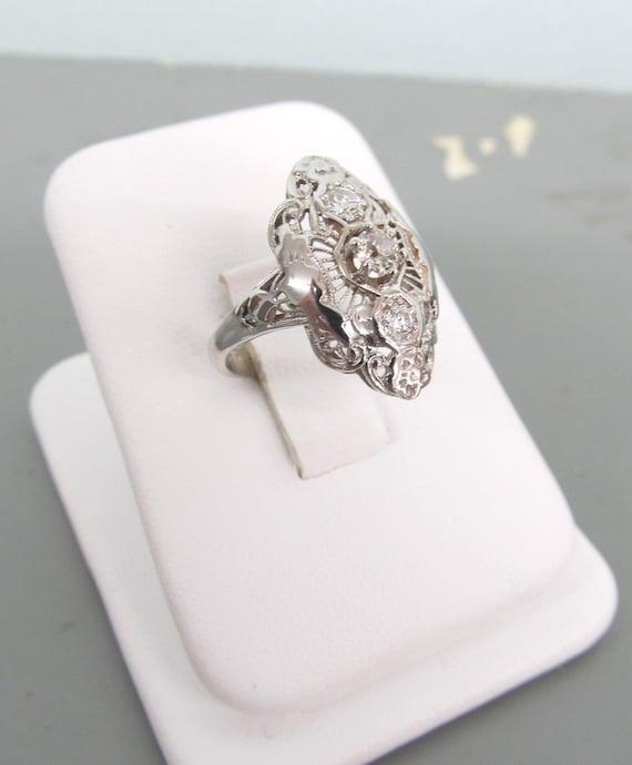 antique engagement ring 14k white gold diamond ring estate wedding ring filigree ring art nouveau ring - Estate Wedding Rings