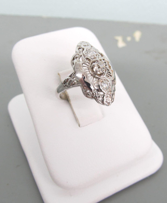antique engagement ring 14k white gold ring estate