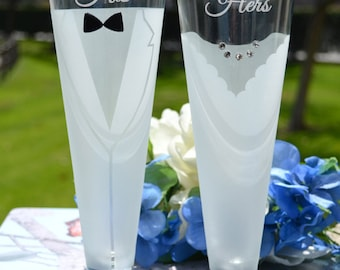 Bride and Groom Beer Glasses - (Set of TWO) Custom Engraved Beer Pilsners - Personalized Wedding Gift - Engagement Gift