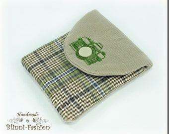 bag for camera accessories and lens cap, light green checkered, for camerastrap