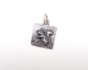 Squirrel Charm, Squirrel Necklace, Squirrel Jewelry, Silver Charm, Brittanium Charm, Pewter Charm, Charm Bracelet, Square Charm
