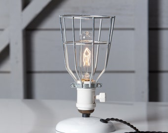 Industrial Desk Lamp - Wire Cage Table Light - Vintage Style