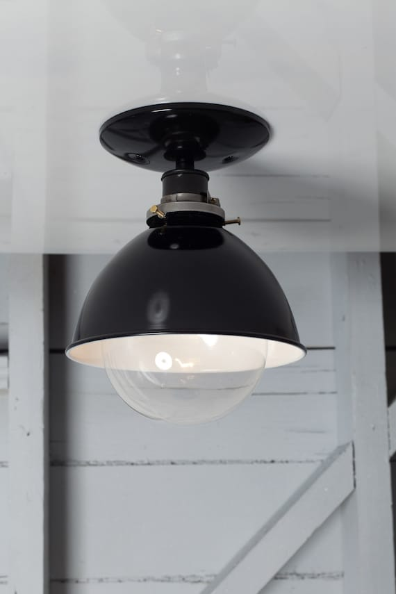 Industrial Ceiling Mount Light Metal Shade Lamp Semi Flush