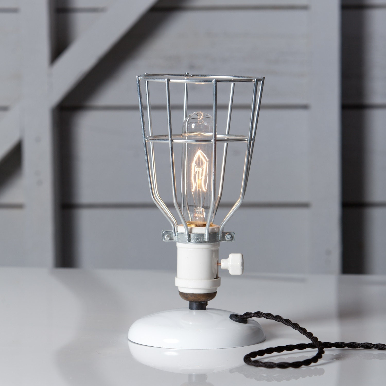 Industrial Desk Lamp Wire Cage Table Light Vintage Style
