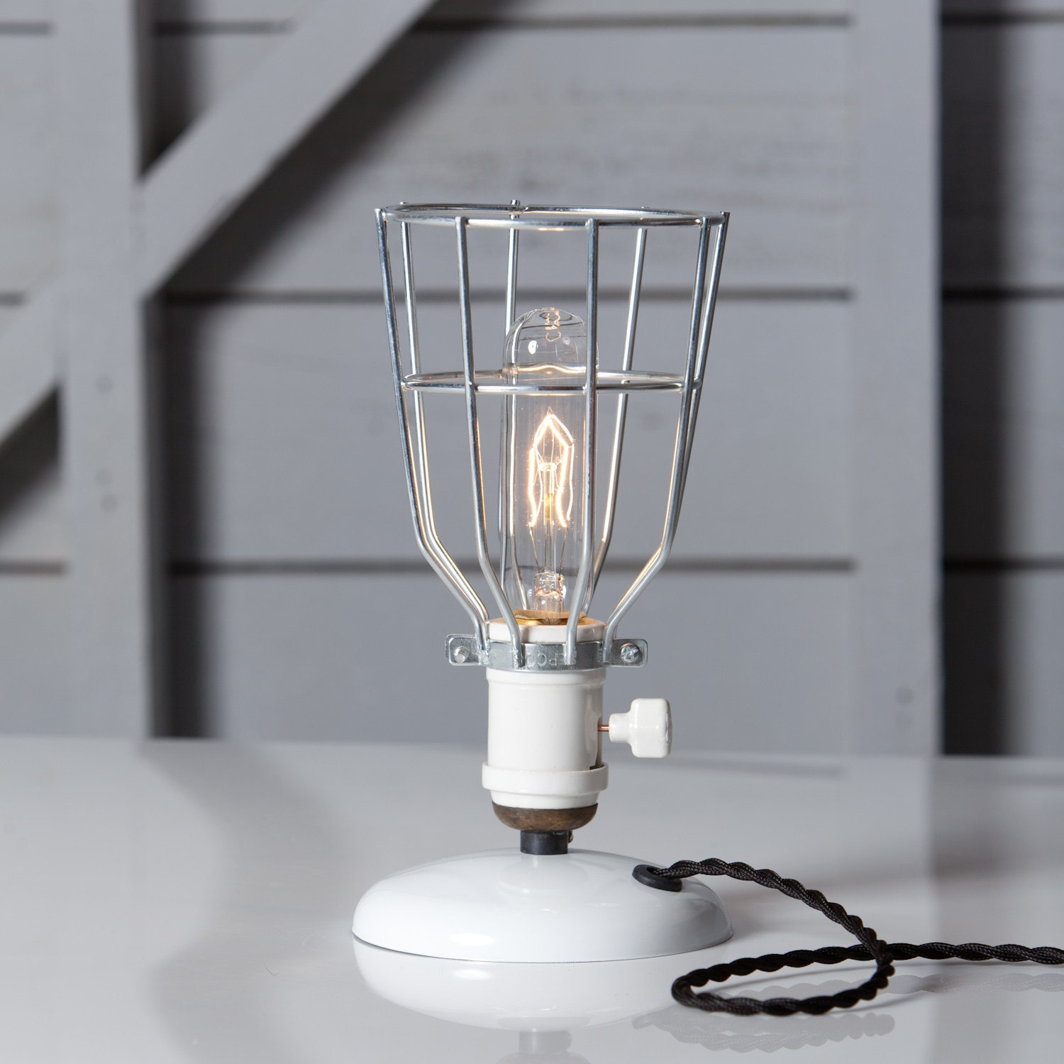 industrial desk lamp wire cage table light vintage style. Black Bedroom Furniture Sets. Home Design Ideas