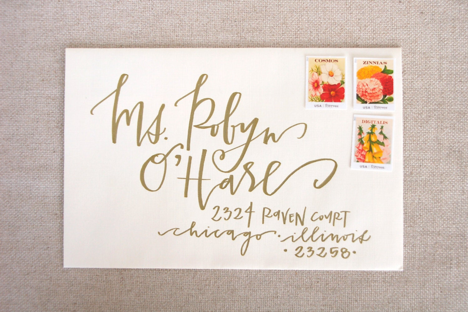 Wedding Calligraphy Envelope Addressing Gold By