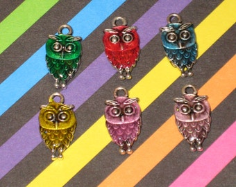 Double Sided Owl Enamel Pendant Charm(s) Only