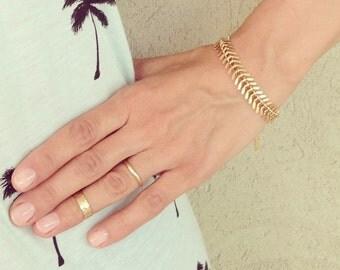 Fishbone Chain Bracelet, Gold Bracelet, Industrial Bracelet, Geometric Bracelet, bridesmaid gifts, chunky bracelet, Industrial Bracelet