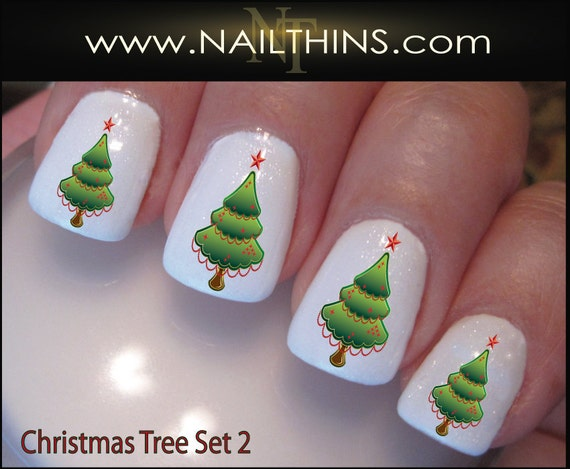 Christmas Tree Nail Decals Set 2 Holiday Tree Nail Design