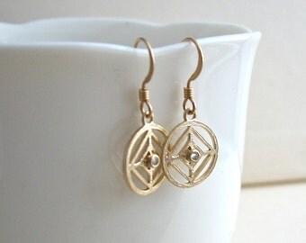 Oriental Earrings, Circle Crystal Earrings, Gold Circle Earrings, Mandala Earrings, Round Geometric Earrings, Bridesmaid Earrings