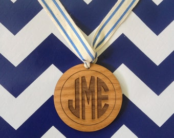 Modern Personalized Monogram Ornament, Gift Tag, Hostess Gift, Christmas Keepsake