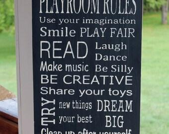 Playroom Rules, Wood Sign, Playroom Subway Sign, Playroom Family Rules, Toyroom Art, Rustic Wood Sign, Family Values, Hand Painted