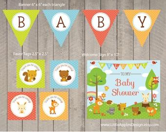 Woodlands Baby Shower Package / Woodlands Decoration / Woodlands Baby Shower Printable / Woodlands Party pack / Woodlands Printable