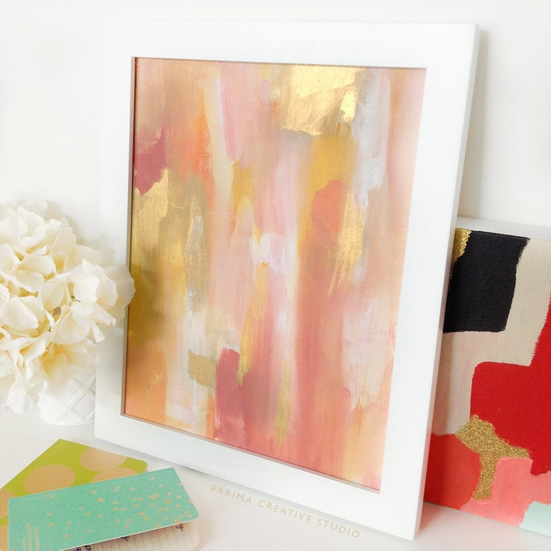 Pink and gold abstract acrylic painting 11x14 original for Gold paintings on canvas