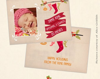INSTANT DOWNLOAD 5x7 Christmas birth announcement card template - CA397