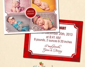 INSTANT DOWNLOAD 5x7 Christmas birth announcement card template - CA233