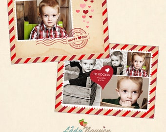INSTANT DOWNLOAD 5x7 Valentine Card Photoshop Template - CA430
