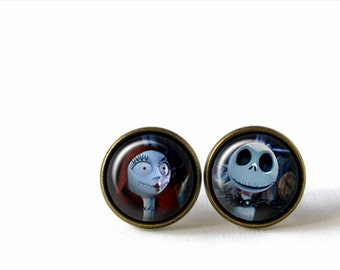 Glass Dome Stud Earrings, Nightmare Before Christmas Jack and Sally, A-170