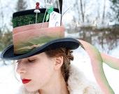 mad hatter top hat alice in wonderland hat mardi gras hat steampunk top hat neo victorian top hat black top hat halloween costume HATTER