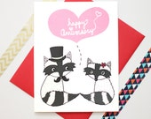 Happy Anniversary Fancy Raccoons Love Card - Anniversary Card - I Love You Card - Anniversary