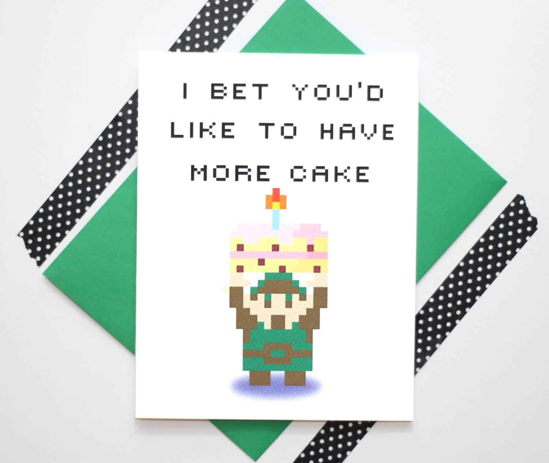 Legend Of Zelda 8bit Retro Link Birthday Card By TurtlesSoup