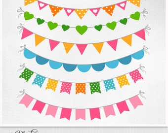 Rainbow Bunting Flags, Digital Clip Art, Bunting PNG Images, Bunting Clipart,  personal and commercial use - istant download