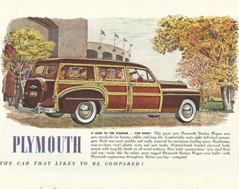 1950 Plymouth Woodie Station Wagon Original 1949 Vintage Print Ad Color Illustration Sports Stadium; Plywood Panels; Eight Passengers