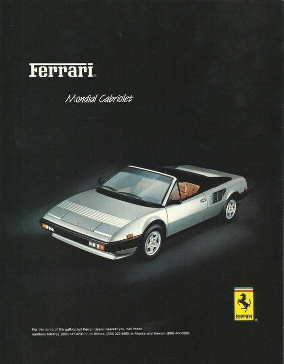 items similar to ferrari mondial cabriolet automobile original 1984 vintage p. Black Bedroom Furniture Sets. Home Design Ideas