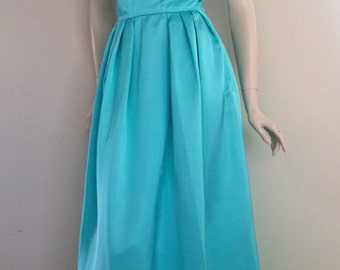 Stunning 50s Blue Green Couture Evening Formal Gown