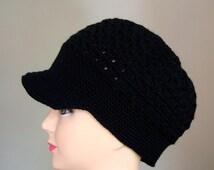 Black Crochet Women Hat, crochet Teen Hats, crochet woman Cap, Crochet Beanie