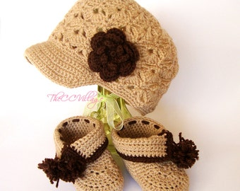 Brown beige crochet baby girl shoes and hat set, Crochet Baby Shoes and hat with flower