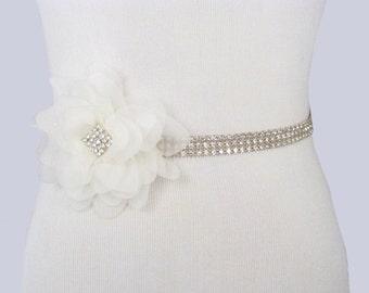Wedding Sash, Rhinestone Bridal Belt, Crystal Dress Sash, Silver Jeweled Bridal Belt, 35 Satin Ribbon Options- Ivory / White