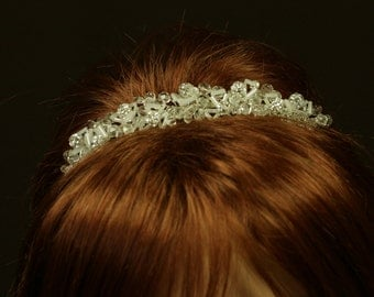 Bridal Headpiece with Beads and Rhinestones - Aileen Wedding Tiara with Bohemian Beads and Rhinestones - Wedding Headband