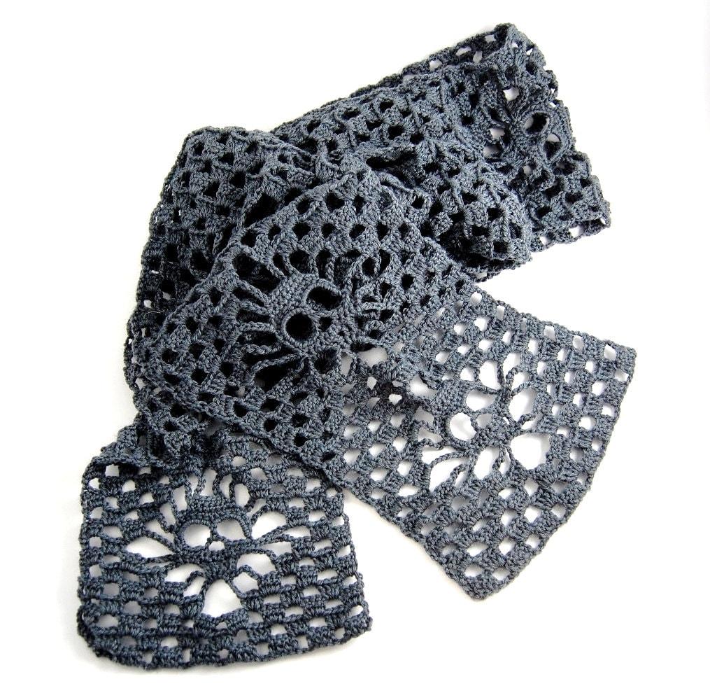 Knitting Pattern Skull Scarf : Skull Scarf Crochet Merino/Bamboo Charcoal Narrow