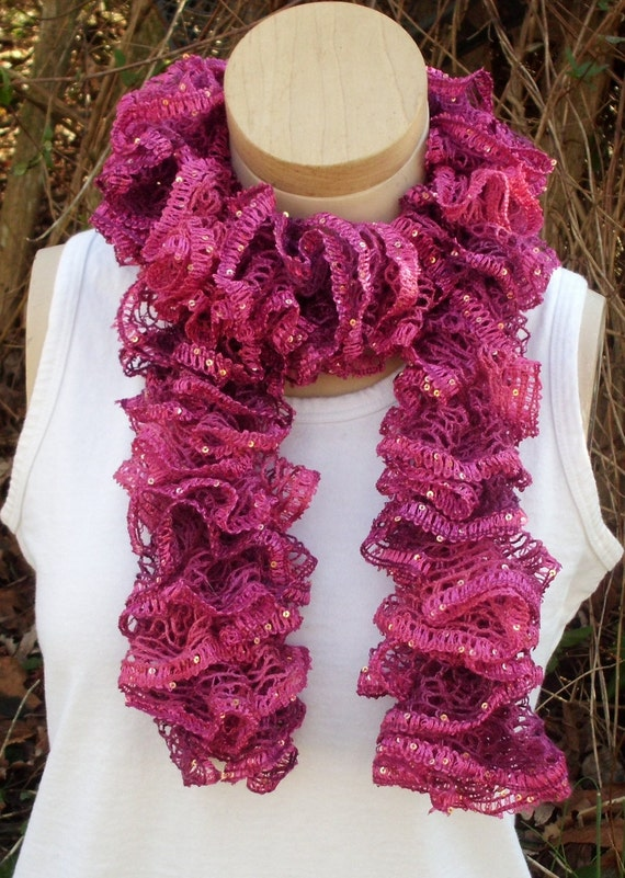 Cable Knit Hat Free Pattern : Knit Sashay Pink Ruffle Scarf