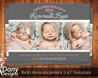 BUY 1 GET 1 FREE Birth Announcement - Neutral Baby Announcement Card - Photoshop Template Instant Download: cardcode-159