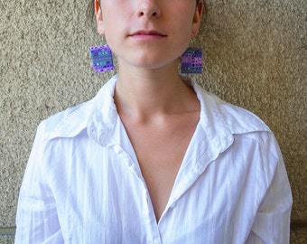 Polymer clay earrings Rectangular earrings OOAK earrings Violet earrings Blue Casual Silver earrings Dangle earrings Geometric earrings