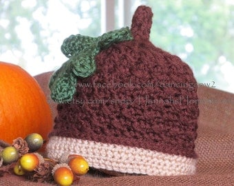 Acorn Hat - Baby Toddler Child Adult Sizes - Crochet - Photo Prop - Oak Leaf - Hannahs Homestead2 Original - AOP