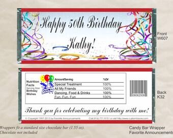 Birthday Favors, Candy Bar Wrapper, Birthday Gift, Chocolate Wrappers, 60th Birthday, Chocolate Favors, 50th Birthday (Set of 12) (W607)