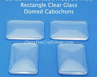 20 Glass Rectangle Cabochons - 33x23mm clear glass domed tiles for earrings, pendants, charms. (33X23RTD)