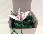 First anniversary - Origami crane ornament gift - Cherry blossoms crane - anniversary gift - paper anniversary