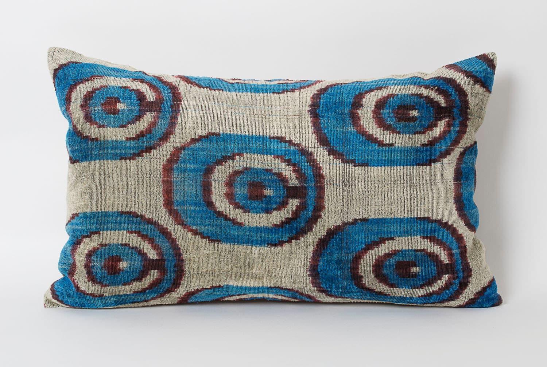 Throw Pillows Ikat : Blue Ikat Pillow Throw Pillows For Sofa Silk Velvet by pillowme