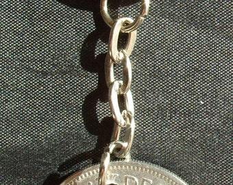1966 Florin 2 Shilling 2 Bob Keyring Key Chain Fob Queen Elizabeth