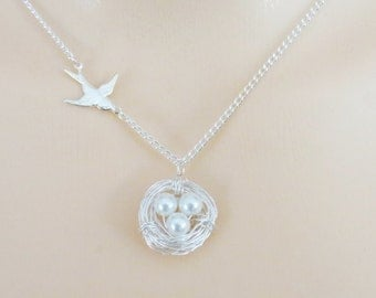 Nest Necklace, Bird Nest Necklace, Bird Necklace, Holiday Gift, Christmas Gift, Necklace for Mom, Gift for Mom, Gift for Grandmother