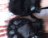 Cute Black & Grey Furry Wolf Fox Dog Bear Cat Fingerless Paw Gloves Wrist Warmers Halloween