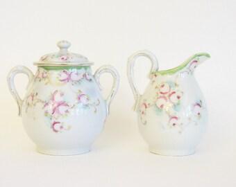Vintage Hand Painted Floral China Cream & Sugar Set