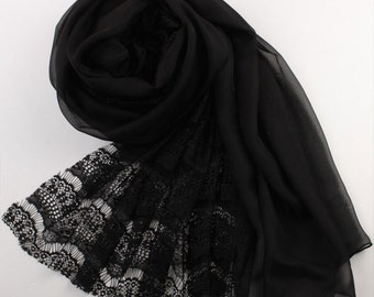 Black Lace And Silk Scarf - Black Lace Chiffon Scarf - AS26
