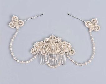 Lucrezia pearl and crystal bridal headpiece unique hair jewelry real freshwater pearls vintage inspired